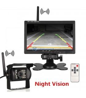 Belaidė parkavimo kamera ir 7 colio LCD su integruotais bevieliais siųstuvais 12-24V