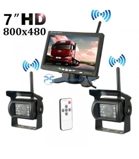 Dvi belaidės parkavimo kameros su monitoriumi