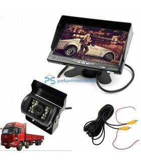 Parkavimo sistema su kamera IR ir 7 colio LCD su įrašymo funkcija 12-24V